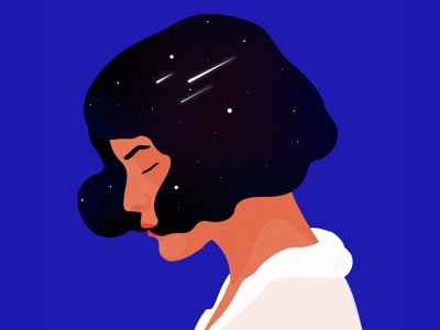 She's cosmic monday cosmic space woman flat art inspiration minimalism adobe illustrator graphic design woman illustration illustration