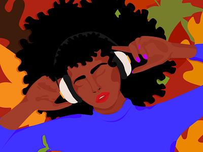 Feel the music fall music fall is coming brown skin girl graphic designer art woman inspiration minimalism adobe illustrator graphic design illustration woman illustration