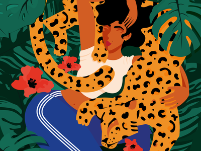 SAVAGE graphic art leopard feline vector inspiration illustration graphic design woman illustration