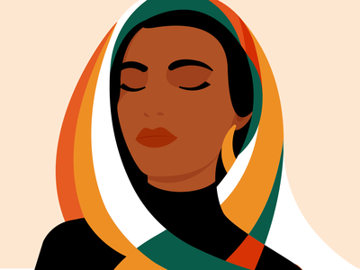 May peace be with you art digital meditation woman portrait scarf muslim woman graphic design adobe illustrator minimalism illustration woman illustration