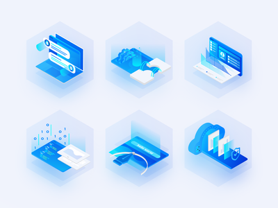 Illustrations for website hexagon blue vector illustration