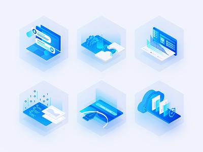 Illustrations for website hexagon blue vector illustration