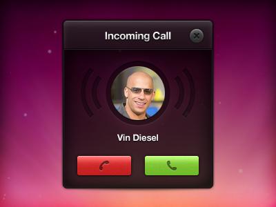 Incoming Call ui incoming call skype talk phone dark vin diesel alert