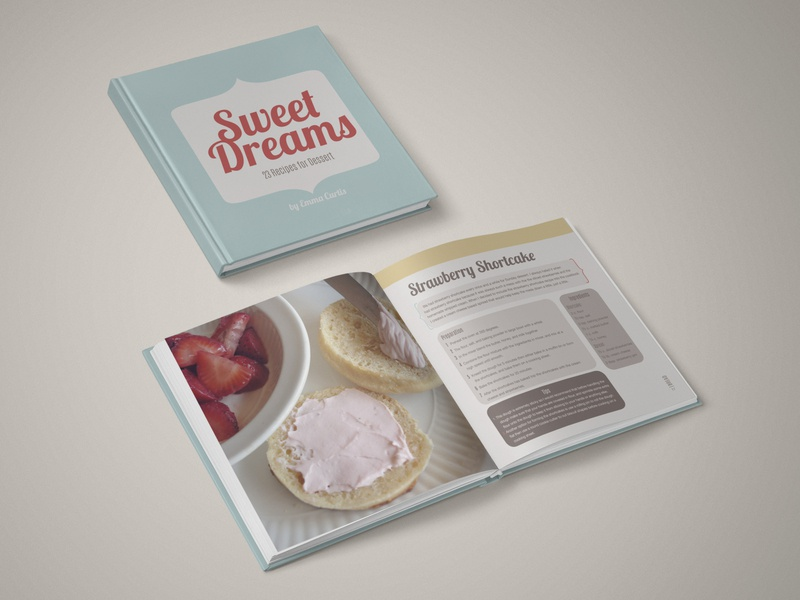 Sweet Dreams Cookbook typography indesign photography photoshop branding illustration illustrator design