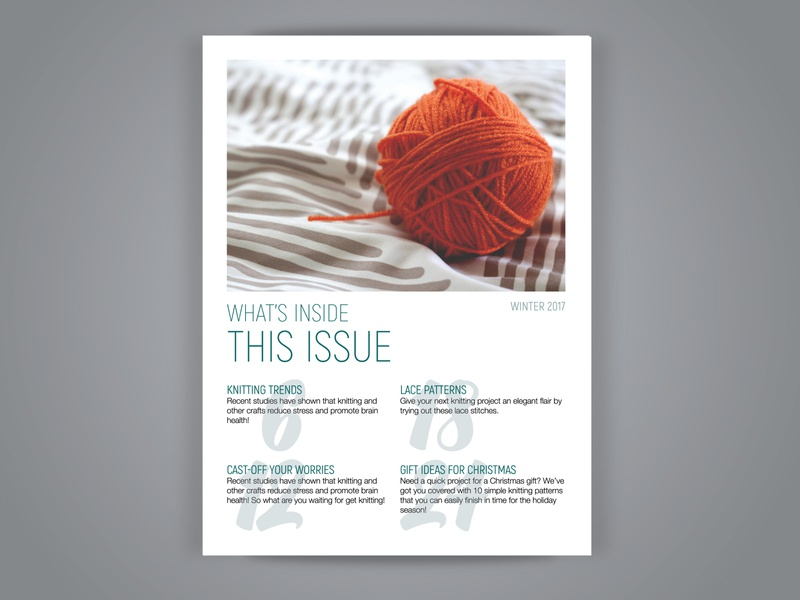 Knitting Magazine - Table of Contents photography layout design layout indesign design