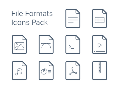 File Formats Icons Pack zip music video image excel word pack file type file format icons icon