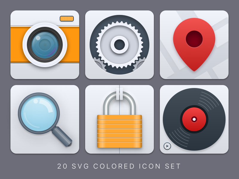 Big and colored SVG icons search settings music map pin photo camera app icon mobile web icons