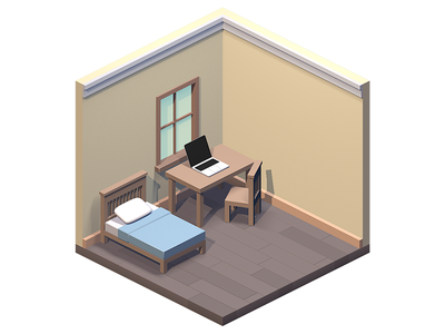 Isometric Room bed game render axonometric isometric 3d room