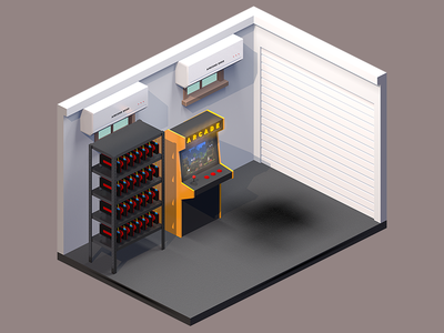 Isometric Garage room 3d isometric axonometric render game bed
