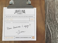 Javelina Ranch Product Care Card