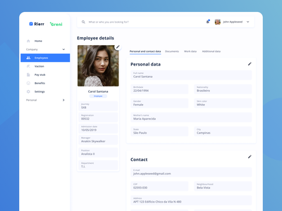Employee details page app dashboard app admin interface hr dashboard uiux ui
