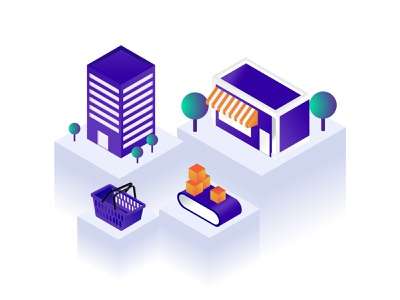 Retail Shopping Isometric hello debutshot conveyor belt production shopping modern corporate corporation landing page diagram ui vector illustration store retail isometric buildings