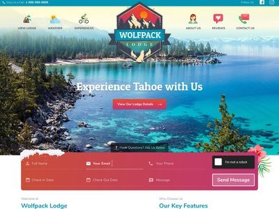 Wolfpack Lodge colorful vacation rental webdesign typography design illustration vector
