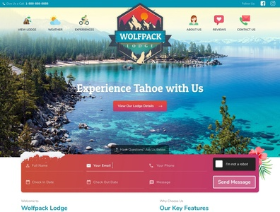 Wolfpack Lodge colorful vacation rental webdesign typography design illustration vector