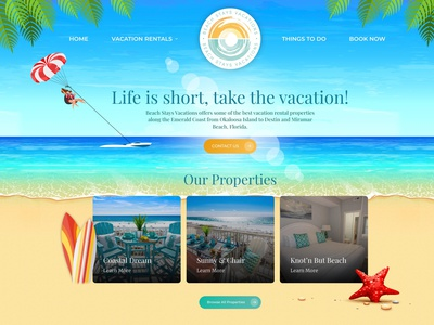 Beach Stays Vacations illustration website design wordpress development wordpress