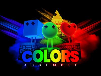 Colors Assemble - Game Poster Design blender 3d typography branding poster game design