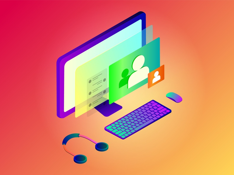Video and Chat in Computer isometric flat app vector illustration