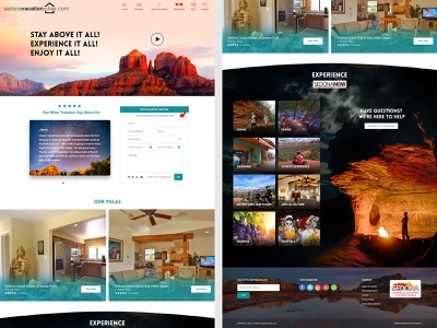 Sedona Vacation Villas wordpress development photoshop website design