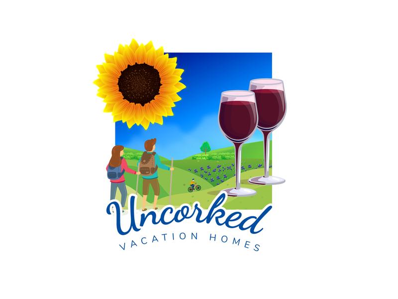 Uncorked Vacation Homes Logo Design vector illustration branding design logo
