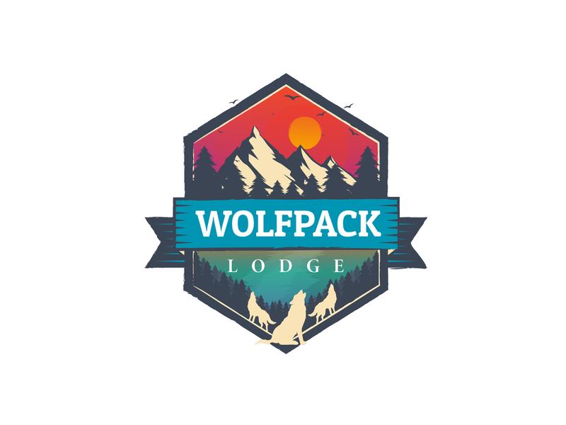 Wolfpack Lodge Final Logo logo branding flat design vector illustration