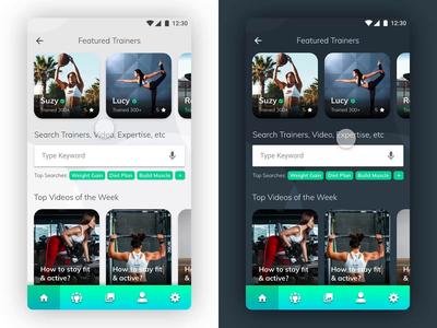 Hire Fitness Trainer - Light/Dark Mode animation prototype adobe xd video motion design design mobile app ui app