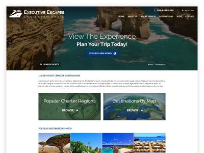 Executive Escapes yacht website web ui typography listing flat design