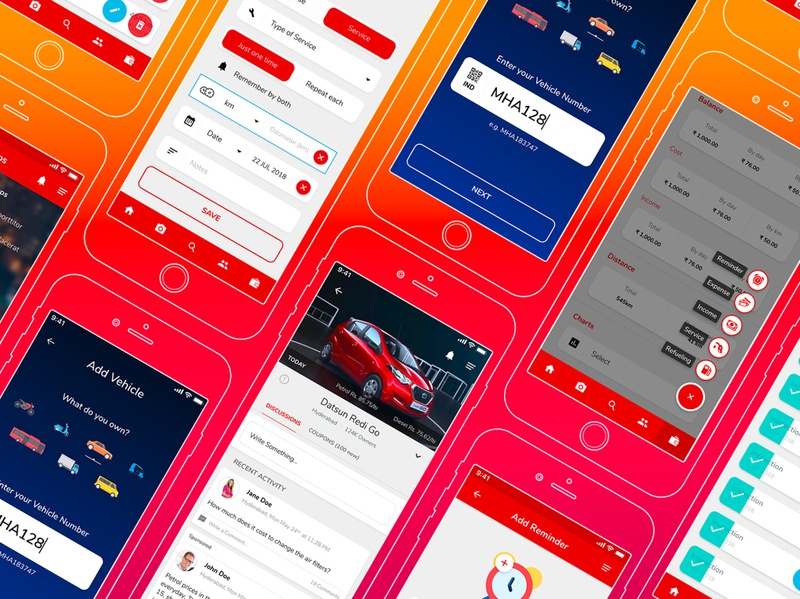 Traffic Violation Reporting App mobile app typography vector illustration design flat app ux ui