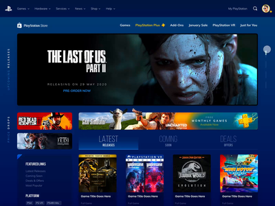 Playstation Store Web Version Redesign Concept typography ux design uidesign marketplace listing game marketplace product page design browser desktop redesign web design