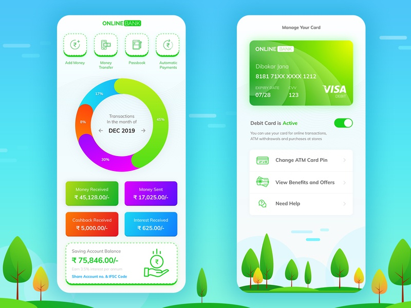 Payment Bank App Concept Design mobile app design green gradient design color concept design concept illustration icon ui ux typography app flat vector