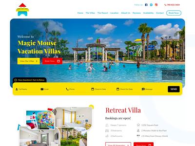 Vacation Villa & Resort Website Design typography illustration colorful webdesign website resort villa vacation rental design