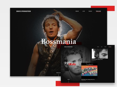 Bruce Springsteen - Timeline facts black ux ui concept music timeline