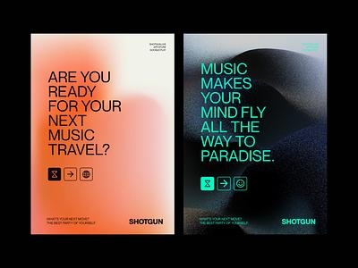Shotgun Rebranding Pitch - Track 01 merch websites prints events gradients icons shotgun music branding and identity branding