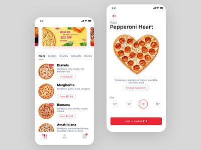 Pizza mobile flat vector ux ui ios app design