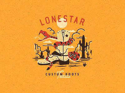 Lonestar Custom Boots - Texas vintage design vintage logo american usa visual design london thedutchman dutchman classic desert snake vintage illustration texas lonestar wildwest western