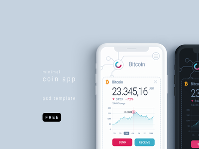 Minimal Coin Cryptocurrency Mobile App PSD Template