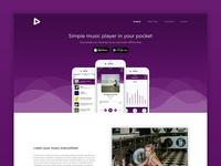 Landing page for music player app