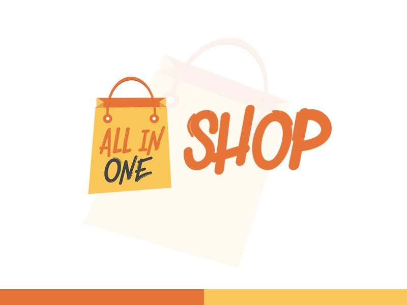ALL IN ONE SHOP   LOGO brand colorful logomark website ecommerce logo