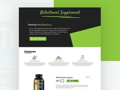 Nutritional Supplement landing  page nutritional supplement web design ui ux colorful layout landing page graphic design design home company website