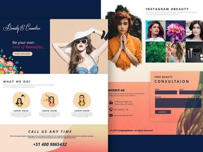 Beauty & Cosmetics ui colorful landing page web design graphic design design home website
