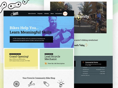 Community Bike Center Website texture illustration duotone bold desktop web colorful ui nonprofit community bikes website