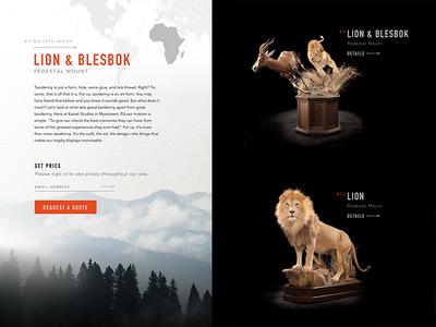 Taxidermy Website button world outdoors design typography filter dark light animals taxidermy ui website