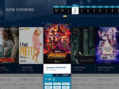 Movie Theater Showtimes theater calendar datepicker tickets cinema movies website design ui
