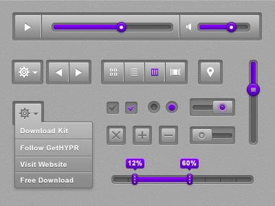 HYPR UI Kit nav view ui video radio button kit design graphics download free purple clean volume slider checkbox close toggle settings
