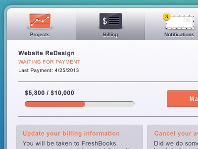 Account Profile UI | Billing Modal ui orange grey card email modal pop up free chart download freebie