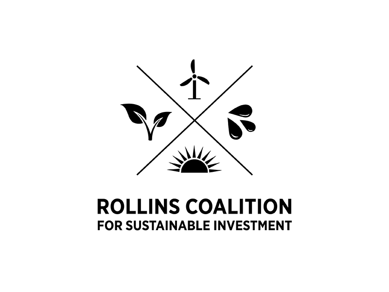 Rollins Coalition for Sustainable Investment Logo black and white icon lettering typography vector design illustration logo