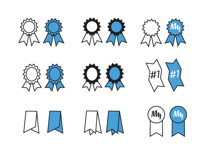 Icon Drafts ribbon blue ribbon award wip vector icon