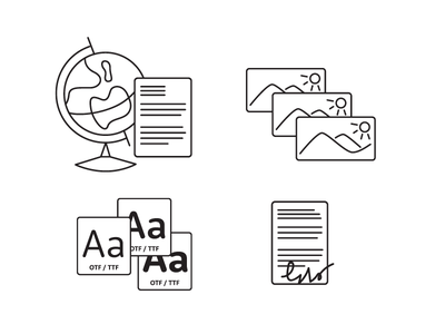 Icons for internal foundry materials fonts monoline flat greyscale icons