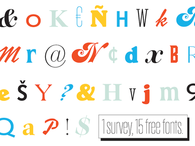 1 survey, 15 free fonts myfonts monotype research data survey typography freebie fonts free