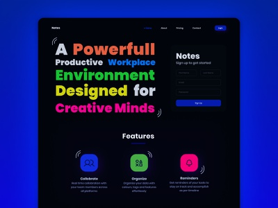 Notes - Sign up idea web design webdesign notes signup user experience digital art dribbbleweeklywarmup dark mode dark theme dark ui dark typography art typogaphy colours userinterface user interface design uiux dribbble best shot dribbble