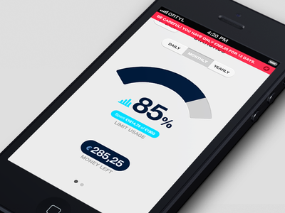 Statistics Screen ui ux user interface ios iphone app application mobile devices wallet money spending cash expenses cost price interaction flat semi-flat graph stats statistics left spent alert warning user interface flat style